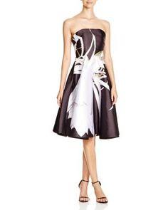 ML Monique Lhuiller Strapless Floral Print A-Line Dress | Bloomingdale's