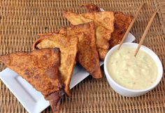 Crab and Avocado Rangoons with Cool Pineapple Dipping Sauce