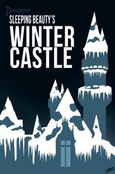 Sleeping Beauty's Castle poster art, Disneyland Christmas,