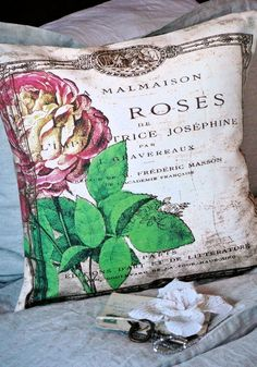 Pillow Cover...the French Rose cotton and burlap by JolieMarche