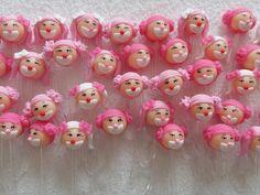 Colherzinhas para brigadeiro de colher decoradas com biscuit tema Circo Rosa.