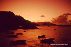 Les Saintes island, sunset