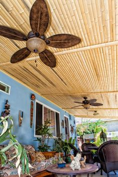 Bamboo slat patio ceiling/cover
