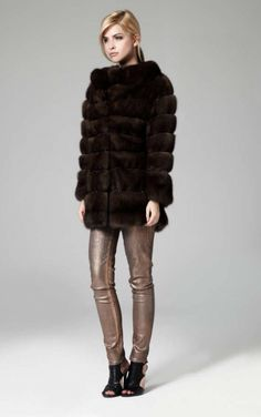 Russian Sable Fur Jacket with Beading