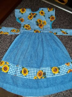 Towel Dress, perfect for dressing up that country kitchen with this charming towel dress! Perfect for holiday gift giving!