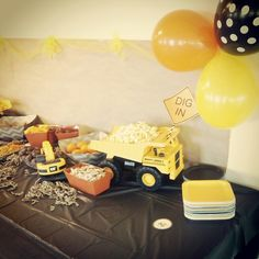 Truck party! For my three year old boys truck themed birthday party