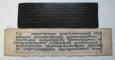 Currently at the #Catawiki auctions: Two Tibetan Sutra leaf's, both hand written - Tibet - mid 19th century.