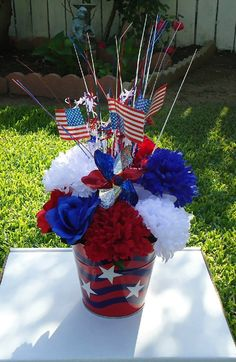 Basket Silk Arrangement Flowers Floral Memorial Day 4Th Of July American Holiday Decor