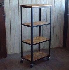 estantería industrial madera y hierro,biblioteca rustica
