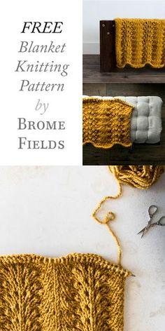 FREE Blanket Knitting Patterns : Fan & Feather Stitch : Boundaries by Brome Fields
