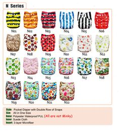 20 colorful baby AIO Cloth Diapers NAPPIES + 20 inserts