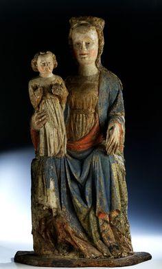 Höhe: 104 cm. Sockelbrettlänge: 60 cm. Pongau/ Salzkammergut, um 1390/ 1410. Die Fassungsreste in pastelliger Farbigkeit, die Figurengruppe auf noch...
