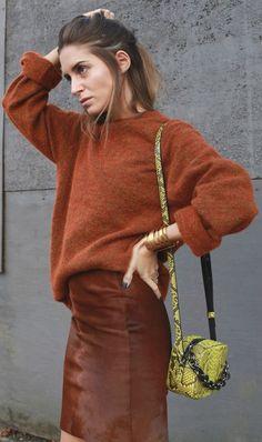 Rust Suede Midi Skirt