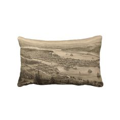 Vintage Pictorial Map of Olympia Washington (1879) Throw Pillows from Zazzle.com $52.00