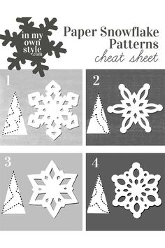 How to Make Paper Snowflakes & Ornaments Using Doilies Keep this paper snowflake making pattern cheat sheet handy when you want to make festive snowflakes to decorate your home for the holidays. Paper Snowflakes Easy, Paper Snowflake Template, Paper Snowflake Patterns, How To Make Snowflakes, Snowflake Craft, Christmas Snowflakes, Christmas Fun, Christmas Ornaments, Snowflake Origami
