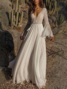 0773986d3d9 Pretty Chiffon Bohemia Floral 3 4 Sleeve V Neck Maxi Dress 01. Backless Maxi  DressesWhite Maxi DressesLong White Dress BohoDresses ...