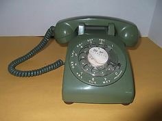 Vintage telephone rotary avacado green desk working condition 60's 70's