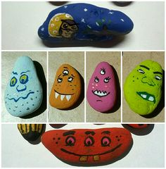 Monsters painted on pebbles by my wife.  Created with Glue http://goo.gl/e7YvFQ