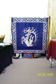 Ravelry: BikerMom's Leaping Deer Tapestry Throw