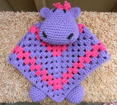 Hippo lovey security blanket i made :) Love how it turned out!
