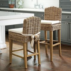 Mix and mingle with friends on a bar stool or coutner stool for any occasion! Find bar stools, kitchen stools, counter stools, bar chairs and bar furniture at Ballard Designs. Wicker Shelf, Wicker Table, Wicker Sofa, Rattan Stool, Dining Chairs, Wicker Planter, Wicker Tray, Ikea Chairs, Kitchen Chairs