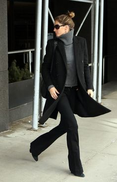 Woman on the go! Gisele Bündchen looked like a chic city dweller in a gray turtleneck sweater and black everything else.                  Source: Getty / Stickman/Bauer-Griffin