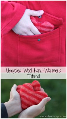 Upcycled Heart Hand Warmers Tutorial - use up your wool scraps for this envelope-back style hand warmer. Take out the inserts and wash if the covers get wet! Free PDF pattern.