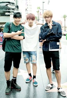 Day off for Jimin, Jungkook & V of BTS. #streetstyle
