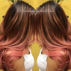 Rose Gold is a highly sought after color! This version by @hairapybychristina is just one of the many gorgeous versions we have seen. She used #KenraColor 6N + 6B on her base and 8C + 6RR Demi-Permanent on level 9/10 pre-lightened hair. #RoseGoldHair #RoseGold