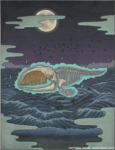 化鯨 ばけくじら 'bakekujira' TRANSLATION:ghost whale ALTERNATE NAMES:hone kujira (bone whale) HABITAT:Sea of Japan DIET:none APPEARANCE:Bakekujira are animated whale skeletons which sail near the surface of the sea...