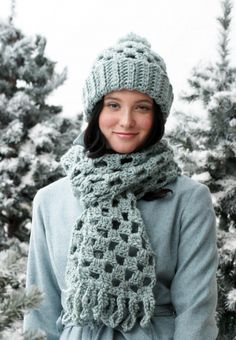 Quick Checkered Scarf and Pom Hat - Free Crochet Pattern