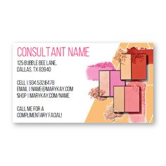 Pop & Glow Business Cards to perfectly go with the new Mary Kay products! Customizable all the details! Find it on www.thepinkbubble.co!