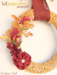 DIY Fall Popcorn Wreath on SixSistersStuff.com