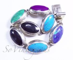 Vintage Mexican Sterling Silver Multi-Gemstone Oval Link Bracelet, 7 1 | SoVintageous - Jewelry on ArtFire