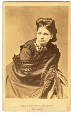 This is a cabinet photo of Tennie C. Claflin, sister to Victoria Woodhull, and one-time candidate for Congress in New York.