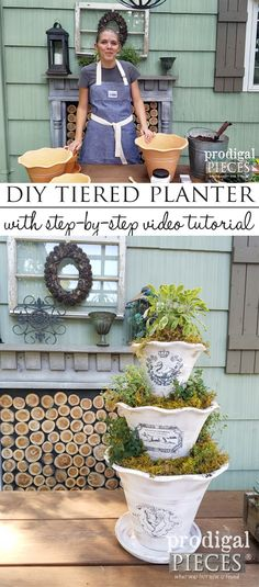 DIY Tiered Planter with French Graphics - Prodigal Pieces Succulent Gardening, Container Gardening, Succulent Containers, Tiered Planter, Planter Pots, Garden Projects, Diy Projects, Detox Your Home, Indoor Plant Pots