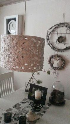 Lampunvarjostin...kanaverkosta ja vessapaperimassasta...