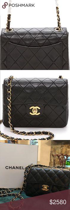 8f3a969ddcdc74 Authentic Chanel Square mini bag Square/mini Chanel / black caviar/ light  gold hardware