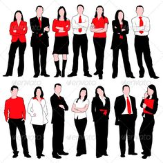Business People Silhouettes Set — JPG Image #suit #isolated • Available here → https://graphicriver.net/item/business-people-silhouettes-set/1875315?ref=pxcr