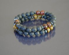 Tiger eye and lava bracelet set Black lava rock by EmpathyGifts, $14.50