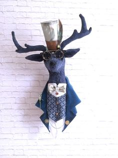 Steampunk Deer Faux Taxidermy Art Sculpture