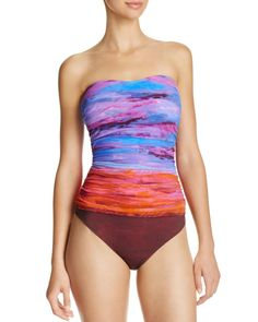 dcd80ec57ca96 Gottex Horizon Bandeau One Piece Swimsuit Bandeau Swimsuit