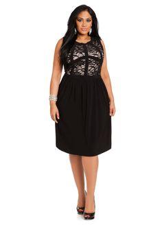 f3d5a8b3305 Ashley Stewart Women s Plus Size Lace Overlay Dress Black 14