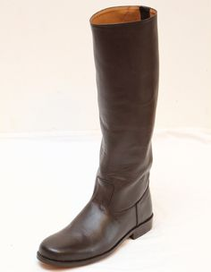 These classic riding boots are made of dark brown calfskin and fully lined in a tan cowhide. Leather soles, with rubber heels, all Goodyear welted for long-life and completely serviceable. Mens Brown Boots, Dark Brown Boots, Brown Leather Boots, Tall Riding Boots, Tall Boots, Mens Boots Fashion, Goodyear Welt, Calves, Footwear
