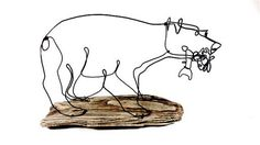 Bear with Fish Wire Sculpture Bear Art Bear Wire by WiredbyBud