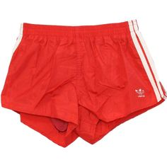 Retro Eighties Swimsuit/Swimwear: 80s -Adidas, Made in USA- Mens red nylon taffeta with white applied side stripes, elastic and drawstring waist swim shorts or trunks with inside polyester knit supporter or brief and back patch pocket, short side vents. M featuring polyvore mens men's clothing shorts bottoms clothing pants