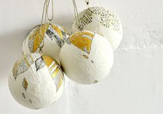 Christmas Ornament  ball decoration  - Set of 4 - hand painted, white, black and gold