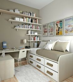 Wall Mounted Storage Ideas For Small Bedrooms : Space Saving Storage Ideas for S. - Wall Mounted Storage Ideas For Small Bedrooms : Space Saving Storage Ideas for Small Bedrooms – Better Home and Garden Small Bedroom Office, Small Bedroom Storage, Small Bedroom Designs, Small Room Design, Small Office, Bedroom Shelves, Bathroom Storage, Design Bedroom, Small Room Storage Ideas