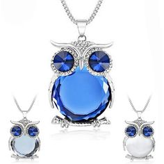 Owl Crystal Pendant Necklaces