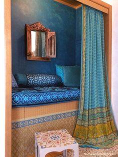 Indian Moroccan Closet Nook Boho Chic Patterns #IndianHomeDecor